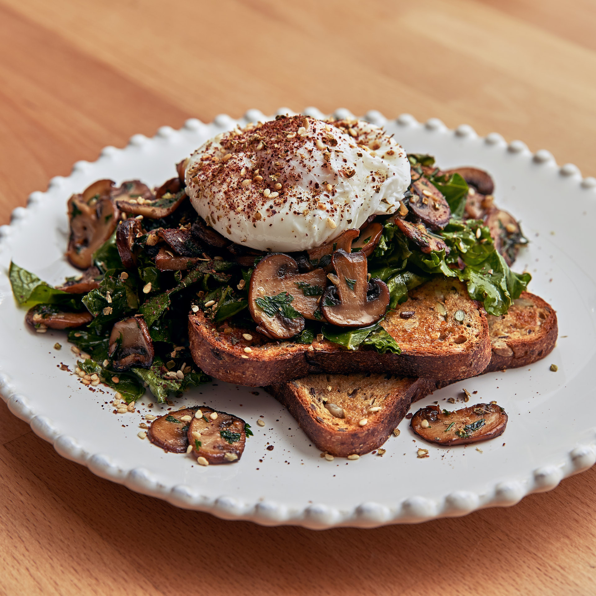 Mushrooms and poached egg
